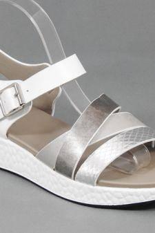 Sandale dama argintii cu alb Ana