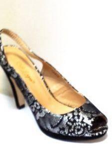 Sandale dama argintii cu insertii de negru