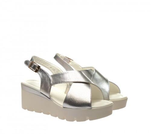 Sandale dama argintii ortopedice toc 6