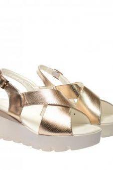 Sandale dama aurii ortopedice toc 6
