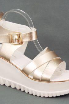 Sandale dama aurii platforma toc 8