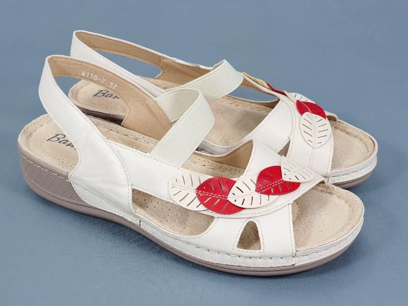 Sandale dama bej cu rosu Aniela