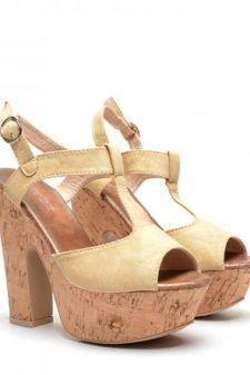 Sandale dama bej toc 14 cm Fryda