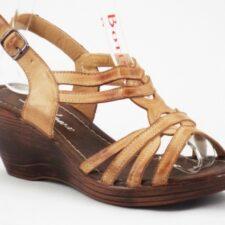 Sandale dama crem cu talpa ortopedica si nuante de maro