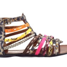 Sandale dama maro cu insertii multicolore