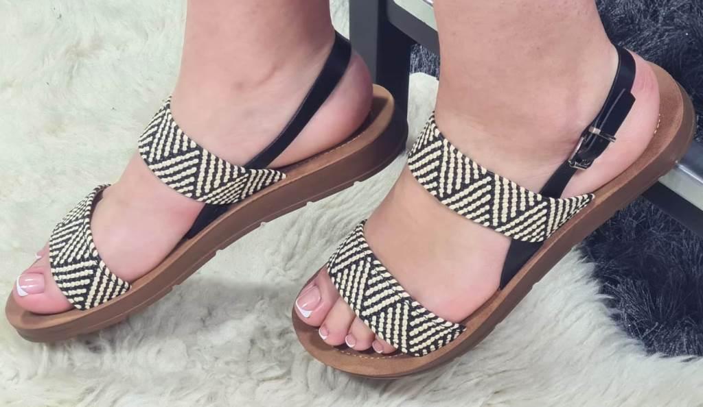 Sandale dama negre cu bej Lona