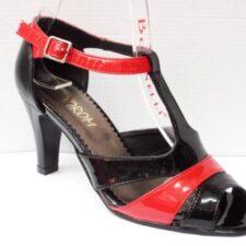 Sandale dama negre cu insertii de rosu