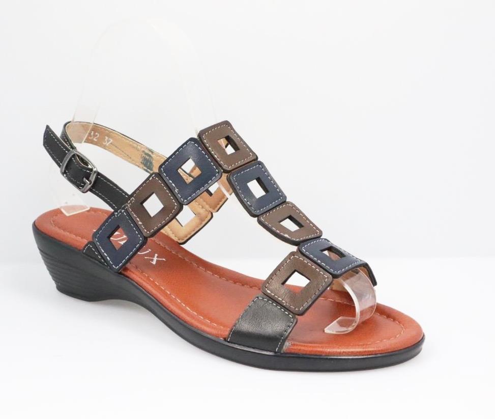 Sandale dama negre cu maro si bleumarin Arina