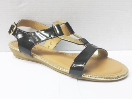 Sandale dama negre cu model frontal auriu