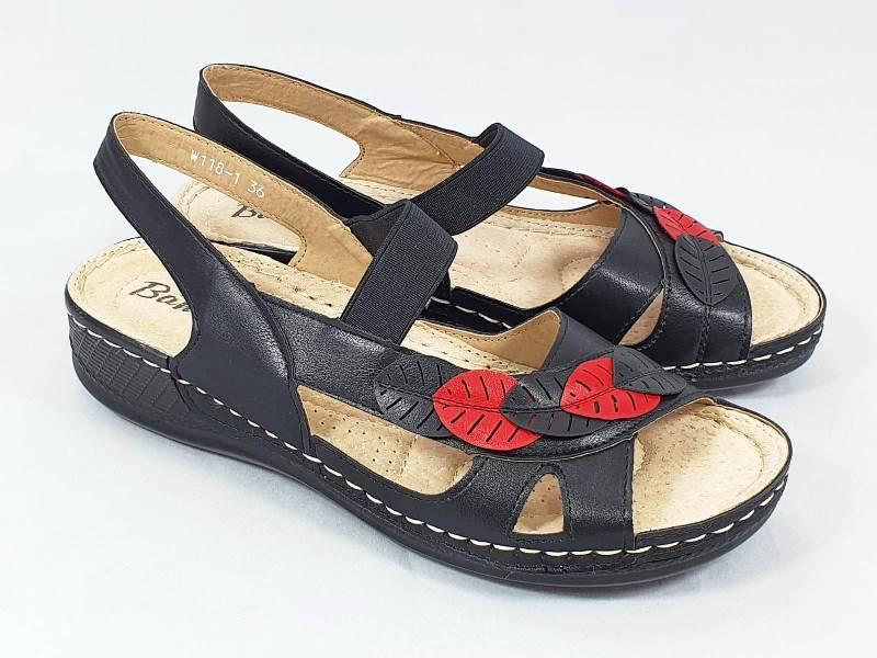 Sandale dama negre cu rosu Aniela