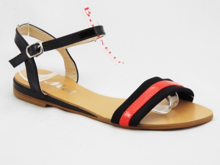 Sandale dama negre cu rosu