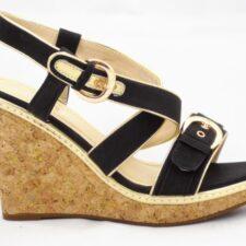 Sandale dama negre cu talpa ortopedica si catarame reglabile