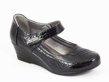 Sandale dama negre ortopedice lac toc 5 cm Ioana