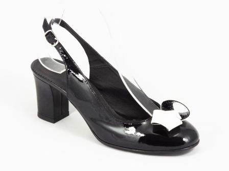 Sandale dama negre piele lac toc 6