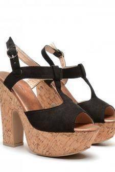 Sandale dama negre toc 14 cm Fryda