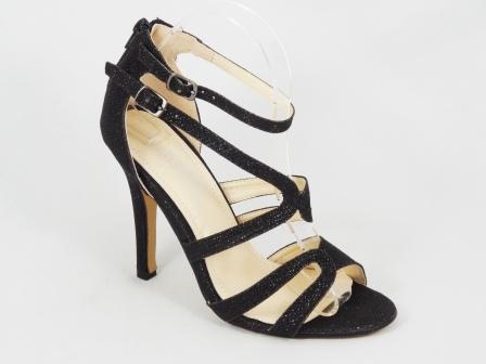 Sandale dama negru metalic toc 10