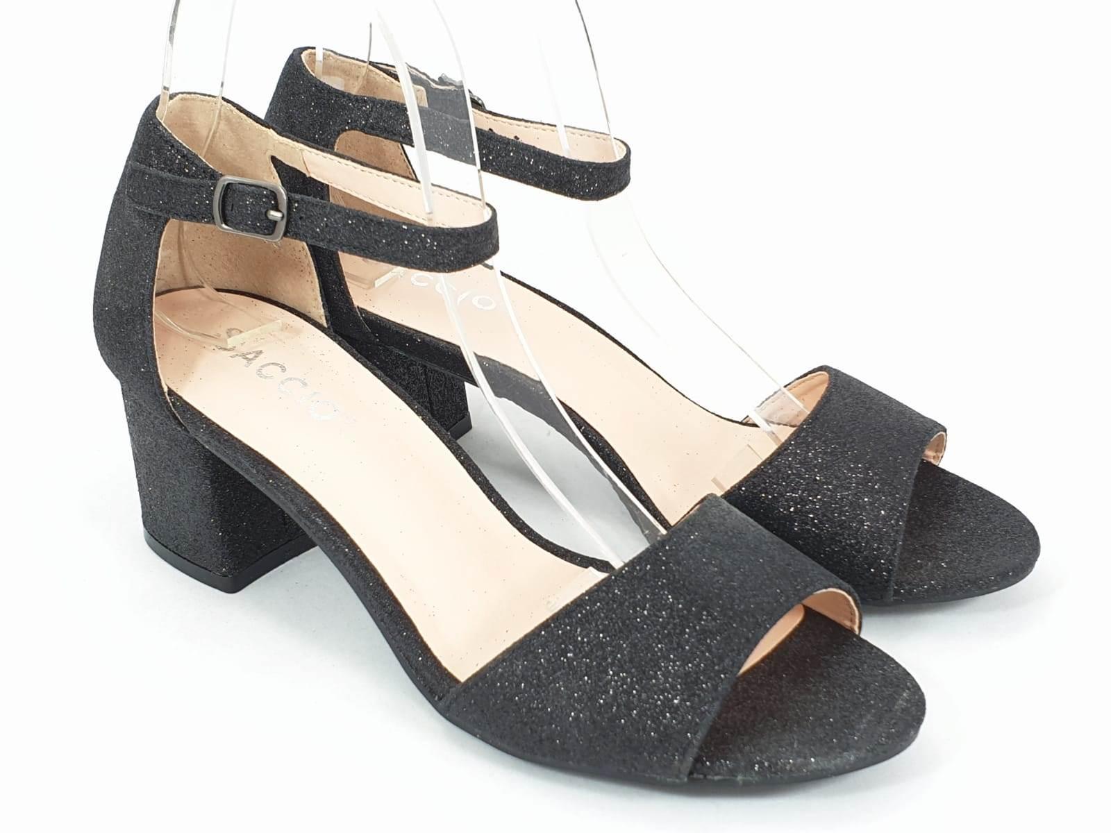 Sandale dama negru metalizat Andra