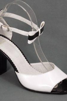 Sandale dama piele alb cu negru lac toc 8 cm Ioana