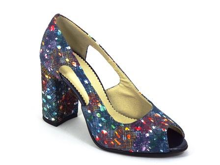 Sandale dama piele albastru floral Doyna2