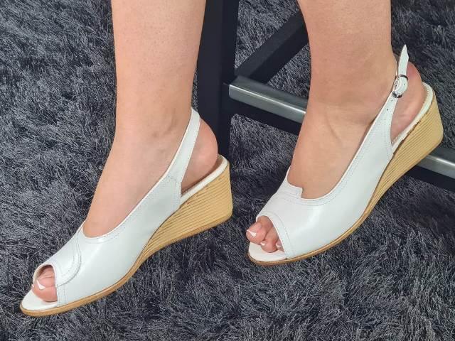 Sandale dama piele albe Cory