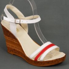 Sandale dama piele albe cu portocaliu talpa ortopedica 9