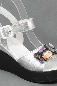 Sandale dama piele argintii Adina