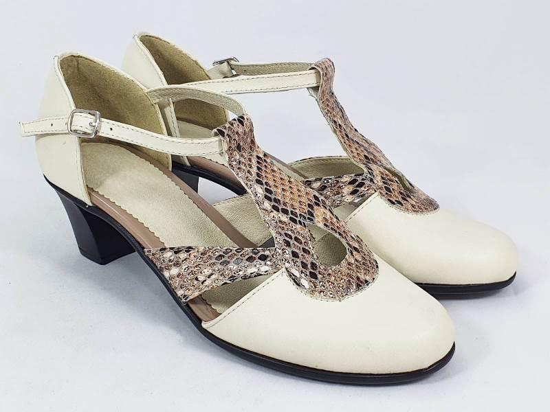 Sandale dama piele bej cu maro Olga