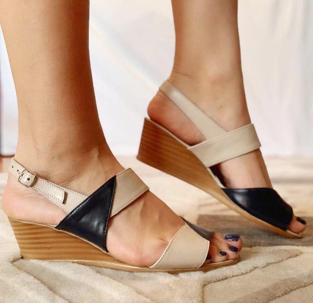 Sandale dama piele bej cu negru Anita
