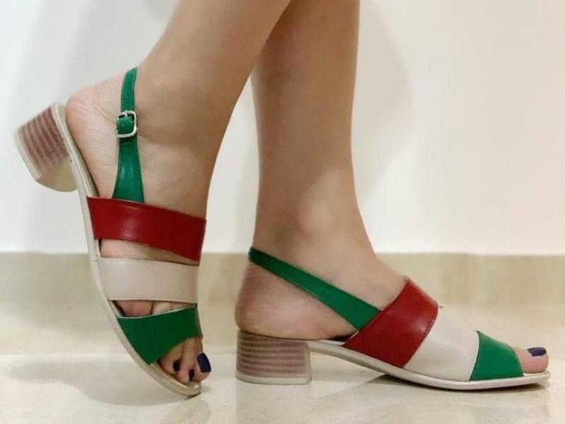 Sandale dama piele bej cu rosu si verde Nadia