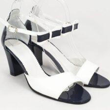 Sandale dama piele bleumarin cu alb Talia