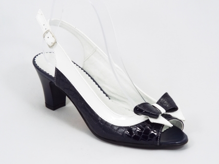 Sandale dama piele croco negre cu alb toc 7 cm Herta