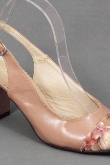 Sandale dama piele lac bej toc 7