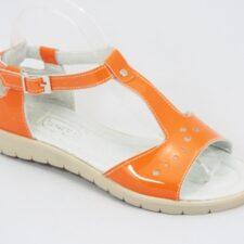 Sandale dama piele lac portocalii Troya