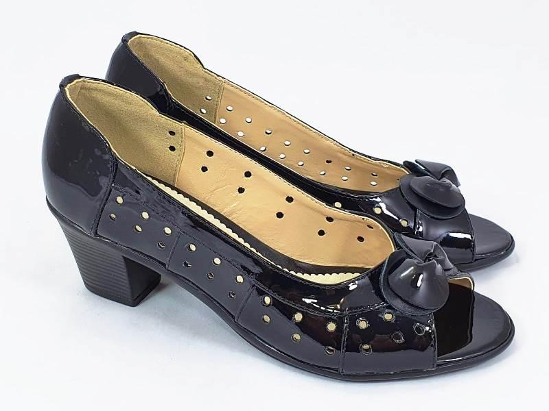Sandale dama piele lacuita negre Anita