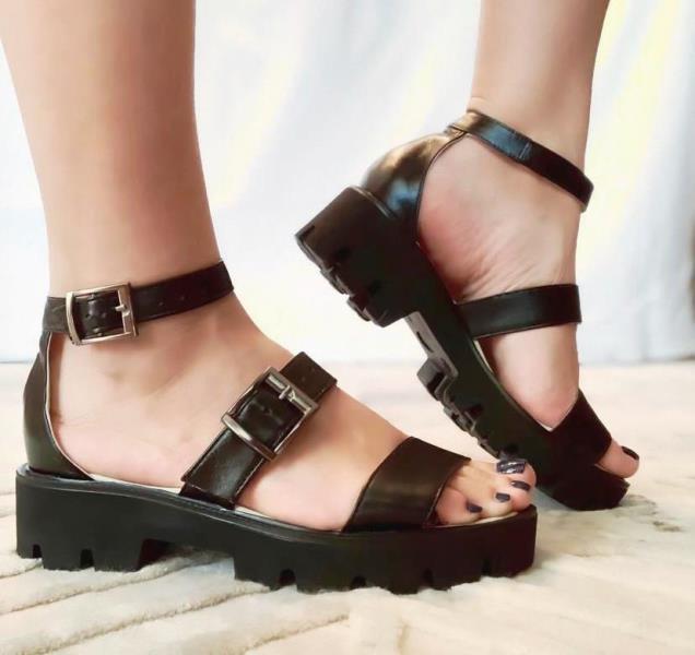 Sandale dama piele negre Adina
