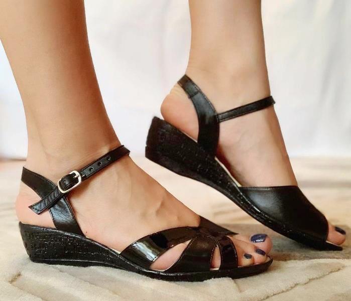 Sandale dama piele negre Dona