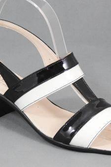 Sandale dama piele negre cu alb Zara