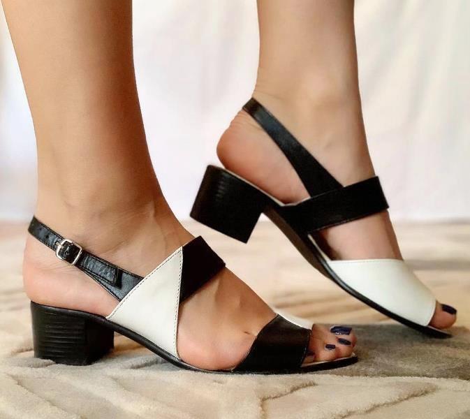 Sandale dama piele negre cu bej Sandra