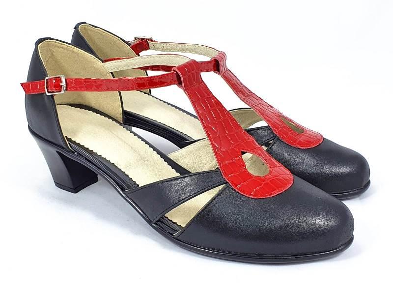 Sandale dama piele negre cu rosu Olga