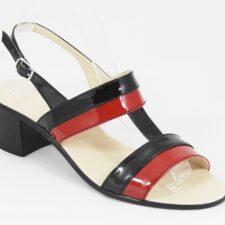 Sandale dama piele negre cu rosu Zara