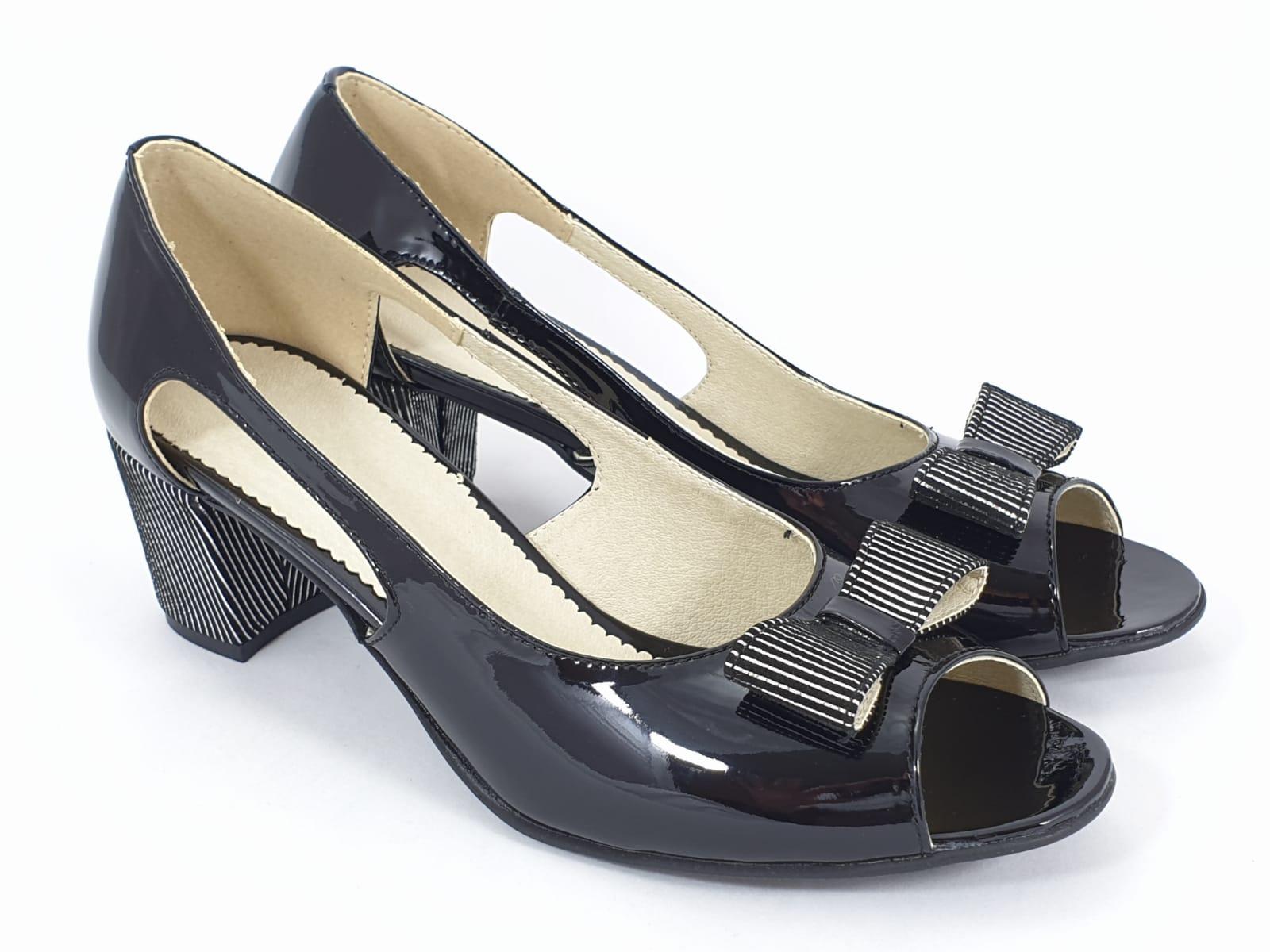 Sandale dama piele negre lac Antonia