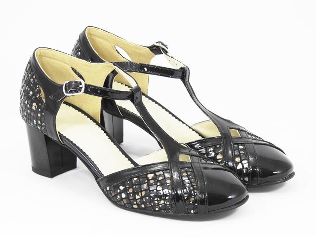 Sandale dama piele negre lac Nikola