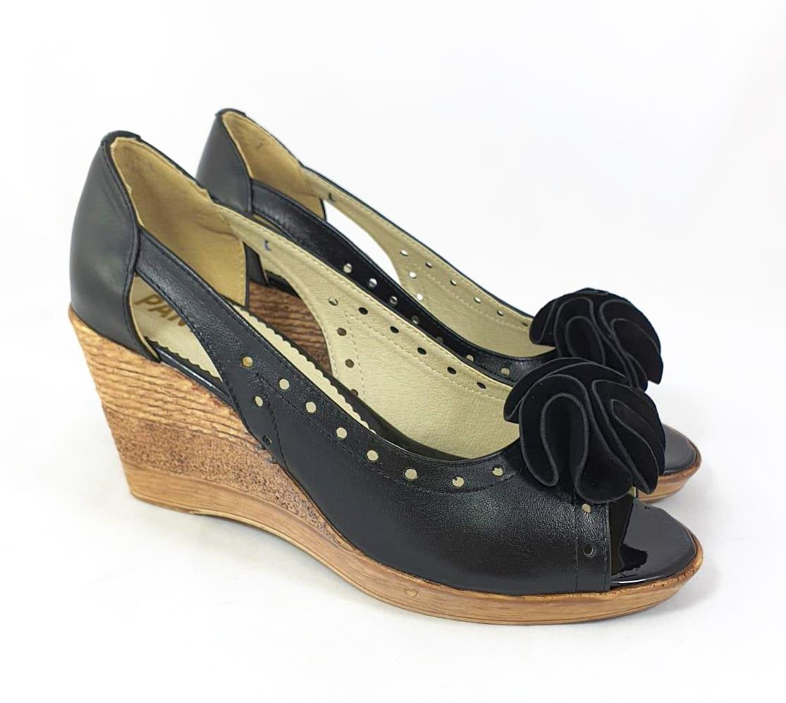 Sandale dama piele negre ortopedice toc 7