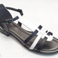 Sandale dama piele negru cu alb Ioana