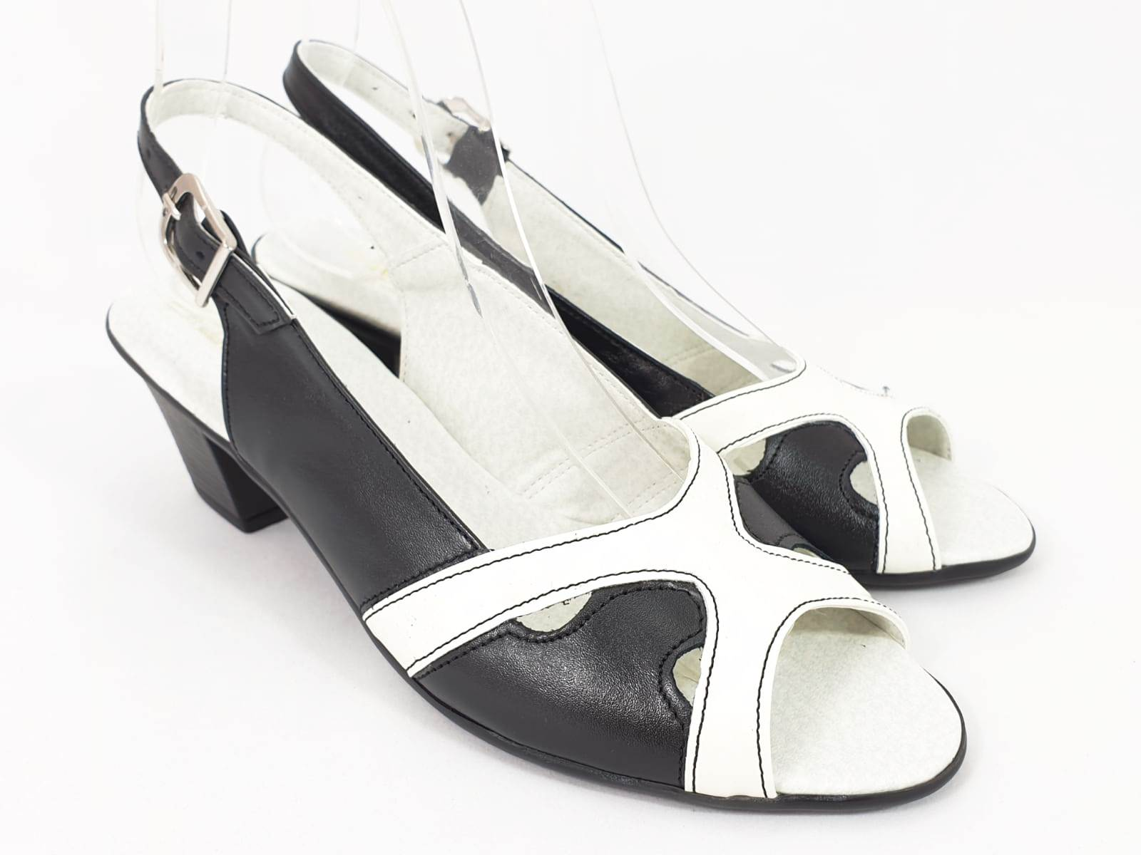 Sandale dama piele negru cu alb Rodica