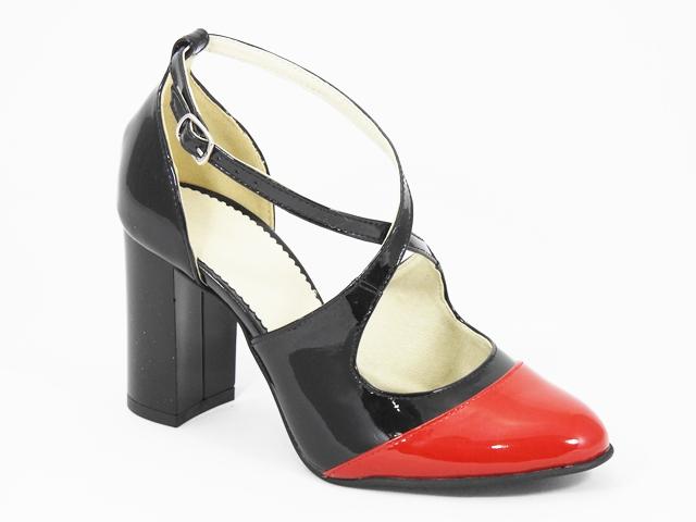 Sandale dama piele negru cu rosu Ileana