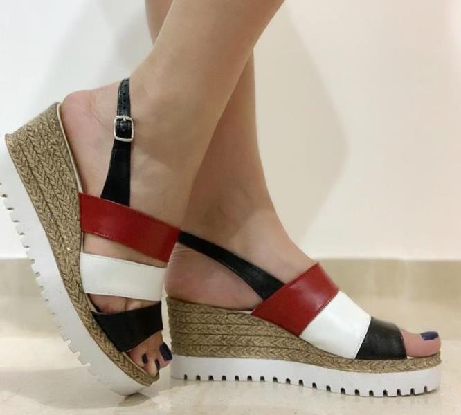 Sandale dama piele negru cu rosu si alb Rodica
