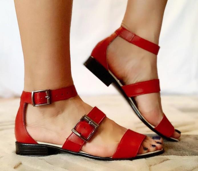 Sandale dama piele rosii Roxana