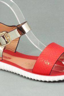 Sandale dama rosii cu auriu Zyna