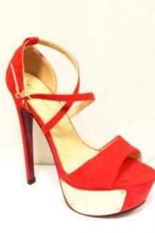 Sandale dama rosii cu toc inalt